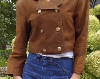 late 1980's TARAZZIA LEATHER JACKET brown bomber cropped 80's M