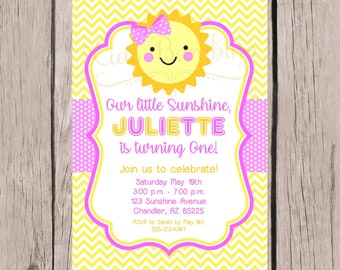 PRINTABLE You are My Sunshine Birthday Party Invitation / PRINTABLE Sunshine Invitation in Pink and Yellow Polka Dots or Chevron / You Print