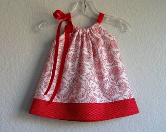 Baby Girls Red & White Dress with Bloomers - White Dress with Red Flowers - Damask Print Pillowcase Dress -Size  Nb, 3m, 6m, 9m, 12m or 18m