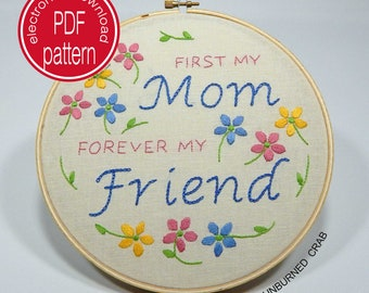 Hand Embroidery Patterns, Embroidery Hoop Art, Gift for Mom, Mother's Day, Embroidery Pattern PDF,  Embroidery Pattern, Hand Embroidery