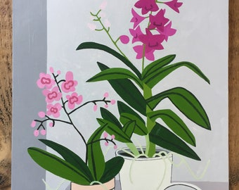 Pink orchids still life original oil painting