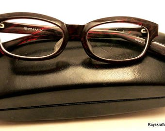 Tortoise Retro Eyeglasses Facial Index of New York Eyeglasses and Black Hard Case Tortoise Early 1990 Chic Eyeglasses