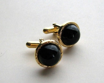 mens gold and black glass cuff links