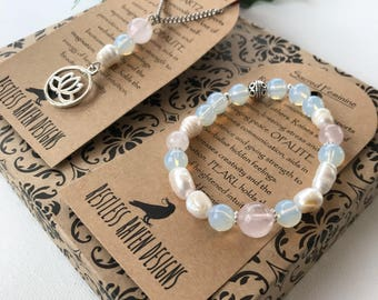 Rose Quartz Opalite Pearl Bracelet and Necklace Set Genuine Healing Crystal jewelry Set Lotus Charm Semi Precious Gemstones Gift Set