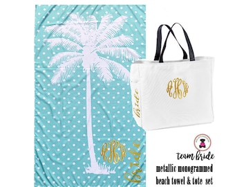TEAM BRIDE Deluxe Gift Set - Metallic  Monogrammed Palm Tree & Polka Dots Beach Towel with Tote -Free Ship