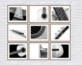 Black and White Vintage Acoustic Guitar Parts, Set of Nine Photo prints, Music theme, guitar room, Music Decor