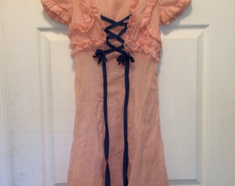 Vintage 30s Sheer Pink Dress 1930s Girls Summer Gown Ruffled