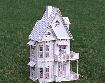 Deluxe Victorian Gingerbread Dollhouse kit, Doll House kit.  Heart motif, wood.