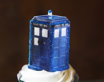 10 EDIBLE Dr Who-Tardis-call box-telephone booth-party cupcake toppers-decorations