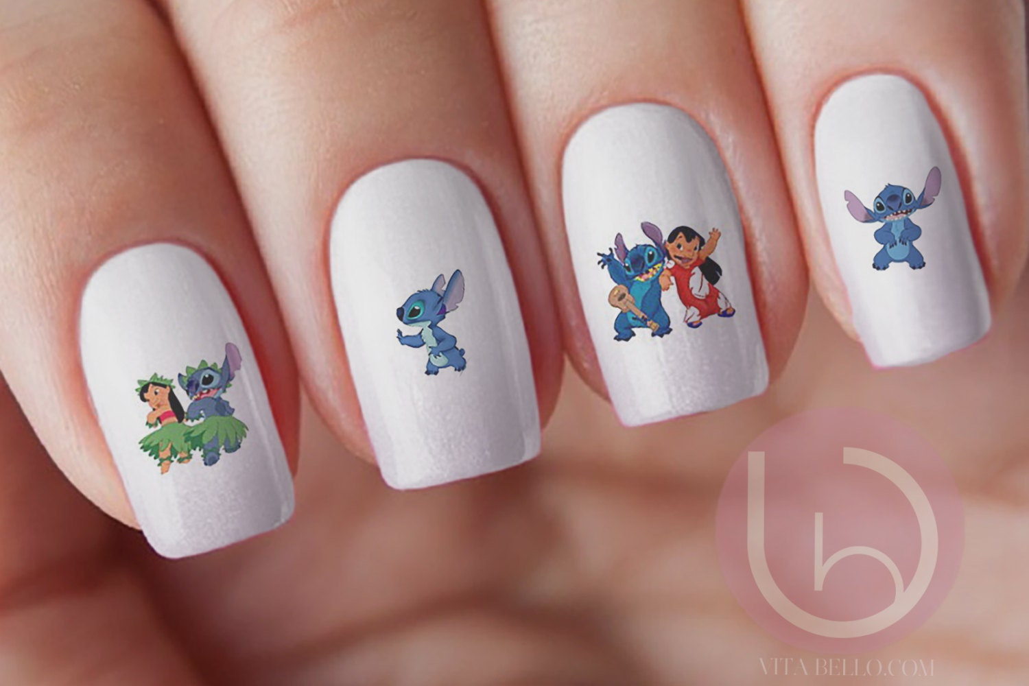 Lilo and Stitch Water-Slide Decal, Nail Design, Nails, Press On Nail ...