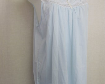Old Fashioned  Nightgown Summer Cotton Blend Nightgown Blue Nightgown Barbizon