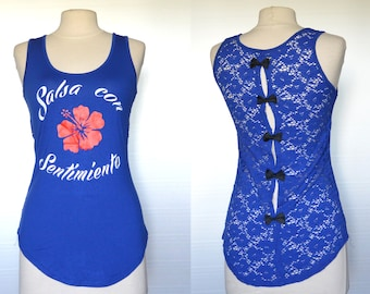 "Blue Salsa top ""Salsa con sentimiento"" lace back and bows- one size"