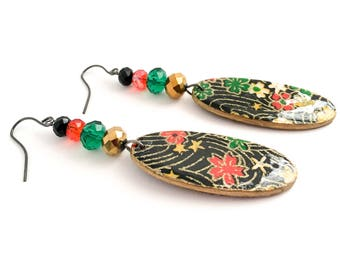 Chiyogami Earrings - Flower Garden in Black, Red Gold & Green Floral lightweight wood with crystals