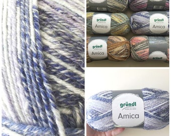 Cotton summer yarn Amica from Gründl blue purple lavender and white colours for needle size 3.5 - 4.5 100g per ball 300 meter