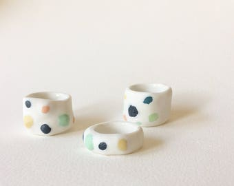 Speckled egg porcleain rings