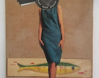 Say Fish, Say Watermelon, Hand Made Collage, Camera