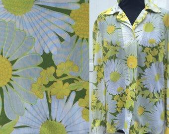 Sunshine Seventies Vintage Daisy Print Blouse  UK Size 18  Vintage 1970's 70's