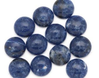 TWO 12mm Beautiful Round Sodalite Cabochons Denim Blue