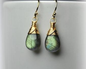 Labradorite Earrings Wire Wrapped Earrings 14K Gold Filled Earrings Gold Dangle Earrings Gold Drop Earrings Labradorite Jewelry Gift For Her