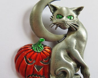 JJ Jonette Eerie Halloween Cat Pumpkin And Moon Brooch pin