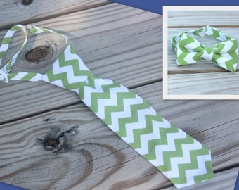 Green and White Chevron Neck Tie or Bow Tie (BowTie) for Baby, Infants, Toddlers, Youth, Boys, Men boys outfit wedding