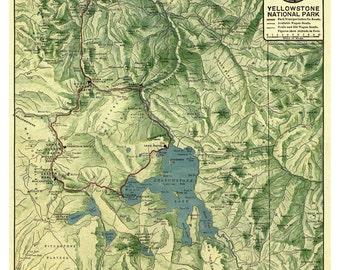 Yellowstone National Park 1910 Map  Northern Pacific Railway   Reprint