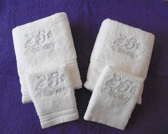 25th Anniversary Hand Towel Gift Set