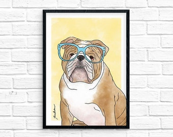 Cute illustrated English Bulldog art wearing glasses 5x7 watercolor wall art print