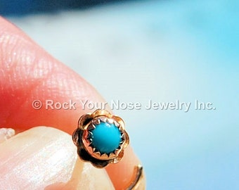 Turquoise Flower Nose Stud in 14K Solid Yellow Gold  - CUSTOMIZE