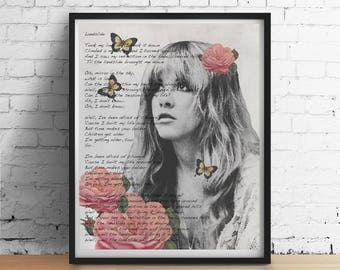 Stevie Nicks-Druck, Erdrutsch Songtext Gypsy Boho Schmetterlinge Wand Kunst Wohnheim Dekor, Stevie Nicks Fleetwood Mac Hochzeit Geschenke Kunst Poster Giclée