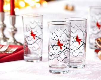 Christmas Cardinal Glassware - Set of 4 Christmas Glasses, Everyday Glasses, Water Glasses, Seasonal Glassware, Holiday Glass, Red Birds