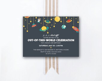 INSTANT DOWNLOAD birthday invitation / outer space party invite / space birthday party / astronaut invite / space party / space invite