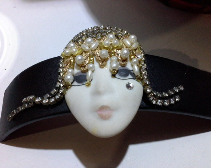 Vintage Art Deco Flapper Girl Diamante Pearls and Handpainted Porcelain Brooch Signed