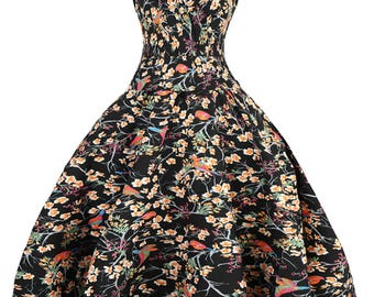 Sarah-P colourful bird print vintage 50's retro rockabilly swing dress