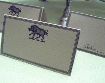 Boar Placecards Wedding Place Cards ,Escort Cards, 60 Blank Wild Pig Razorback Kraft Seating Cards , Woodland Forest Entertaining