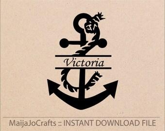 Anchor Split Monogram Svg Cutting File Dxf Instant Download Silhouette Cameo Cricut Designs Cut Clip Art Vector Printable PNG