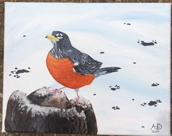 Snowy Robbin Painting