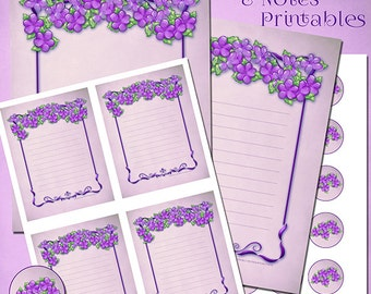 Purple Flowers Stationery   PDF Digital File   You Print at Home   Digital Download Stationery Template   Purple Floral Art Note Pad Papers