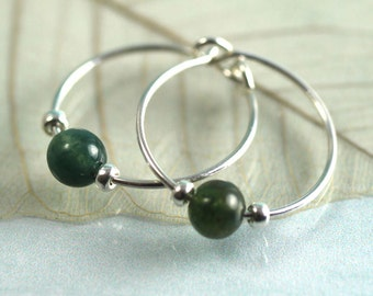 Silver Gem Hoops with Moss Agate Beads | Silver Earrings | Gemstone Earrings | Moss Agate Earrings | Silver Hoops