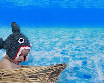 Crocheted Chompy Jaws Shark Hat in Baby, Infant, Toddler Sizes