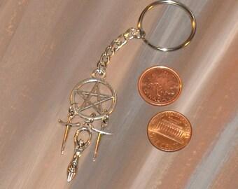 pentacle - goddess - athames Keyring / wicca / #050