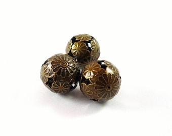 2 beads filigree flower bronze metal, 20mm long (pm67)