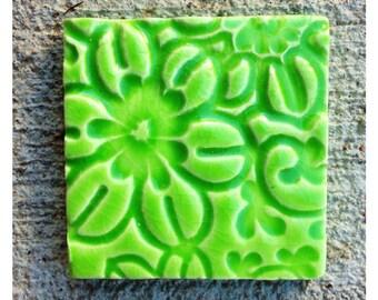 Handmade LIME GREEN FLOWER Tile
