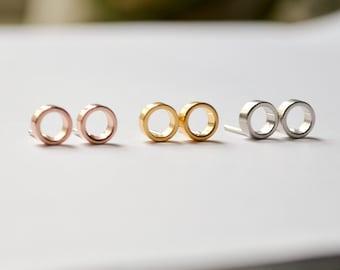 Tiny Open Circle Stud Earrings - Small Everyday Gold or Rose Gold Studs - Open Hoop Faux Gauge Earings - Handmade by HookAndMatter Brooklyn