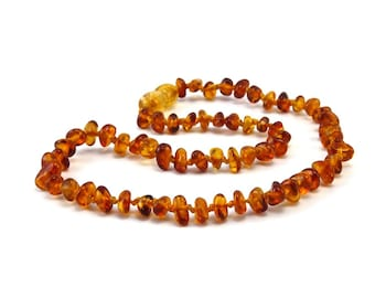 Baltic Amber Necklace Teething Baby Toddler Child Rounded Polished Sides Honey Beads