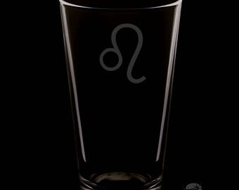 16 Ounce Leo Personalized Pint Glass
