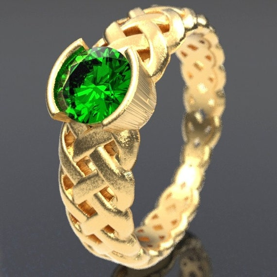 Gold Celtic Emerald Engagement Ring With Braided Cut-Through Knotwork Design in 10K 14K 18K or Palladium, Made in Your Size Cr-760