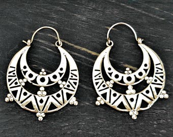 Silver Aztec Earrings, Tribal Silver Earrings, Tribal Earrings, Tribal Hoop Earrings, Ethnic Earrings, Silver Hoop Earrings, Boho Earrings