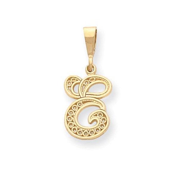 14k solid yellow gold initial letter e cursive alphabet te gusta este artculo aloadofball Choice Image