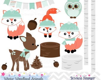INSTANT DOWNLOAD, Winter Woodland Clipart, woodland clip art, for personal use, commercial use, party supply, scrapbooking